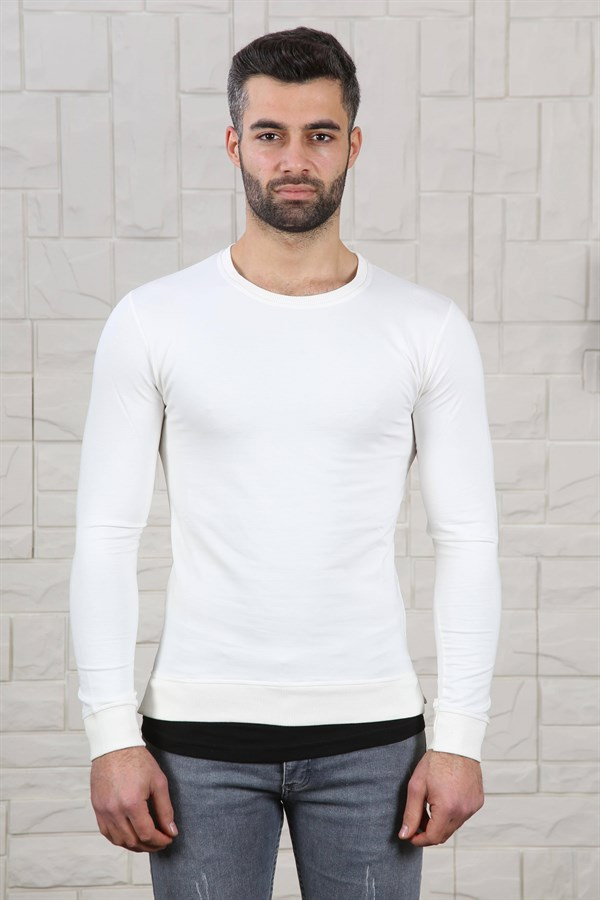 Slim Fit Etek Detay Ekru Sweat