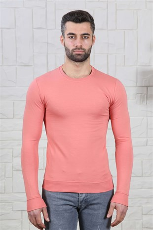 Slim Fit Etek Detay Gül Kurusu Sweat