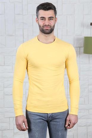 Slim Fit Etek Detay Sarı Sweat
