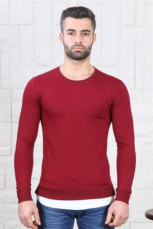 Slim Fit Etek Detay Bordo Sweat
